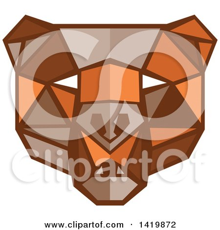 Clipart of a Low Polygon Style Bear Head - Royalty Free Vector Illustration by patrimonio