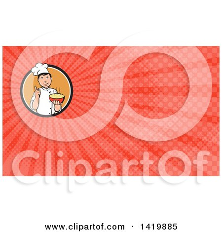 Clipart of a Retro Chef Holding up a Finger and a Bowl of Hot Noodle Soup and Red Rays Background or Business Card Design - Royalty Free Illustration by patrimonio
