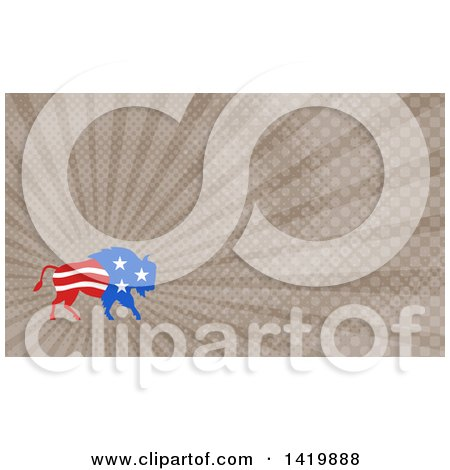 Clipart of a Retro American Stars and Stripes Buffalo and Brown Rays Background or Business Card Design - Royalty Free Illustration by patrimonio