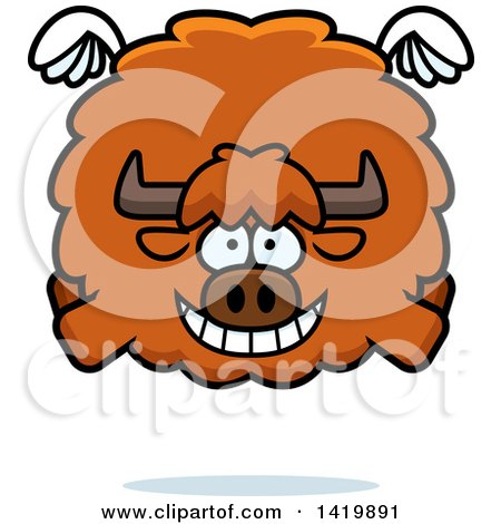 Clipart of a Cartoon Chubby Yak Flying - Royalty Free Vector Illustration by Cory Thoman