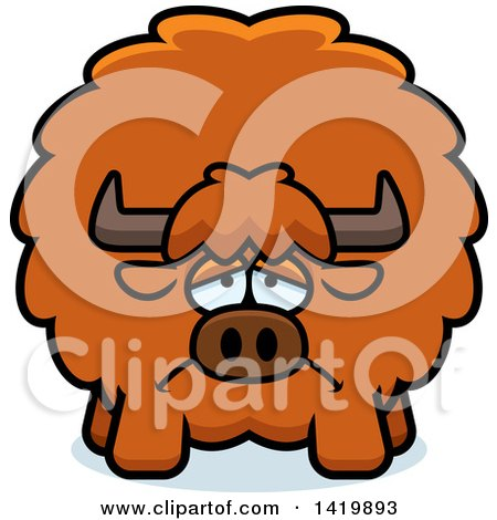 Clipart of a Cartoon Depressed Chubby Yak - Royalty Free Vector Illustration by Cory Thoman