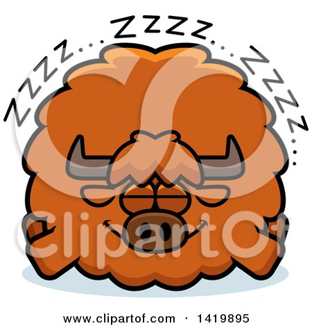 Clipart of a Cartoon Chubby Yak Sleeping - Royalty Free Vector Illustration by Cory Thoman