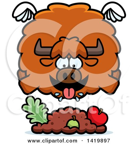 Clipart of a Cartoon Chubby Yak Flying and Eating - Royalty Free Vector Illustration by Cory Thoman