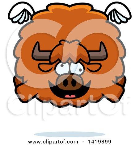 Clipart of a Cartoon Chubby Crazy Yak Flying - Royalty Free Vector Illustration by Cory Thoman