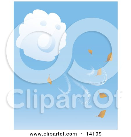 Puffy White Cloud Blowing Fall Leaves Into the Air Clipart Illustration by Rasmussen Images