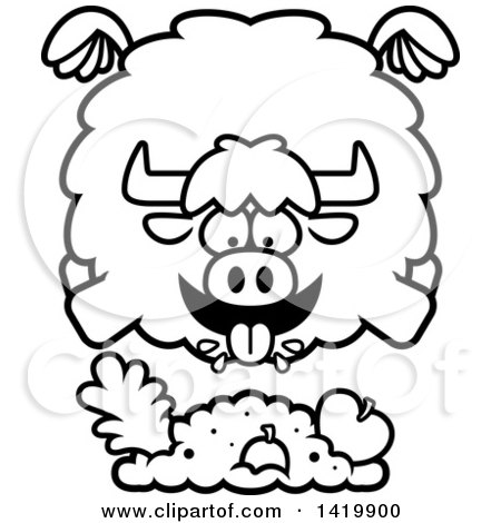 Clipart of a Cartoon Black and White Lineart Chubby Yak Flying and Eating - Royalty Free Vector Illustration by Cory Thoman
