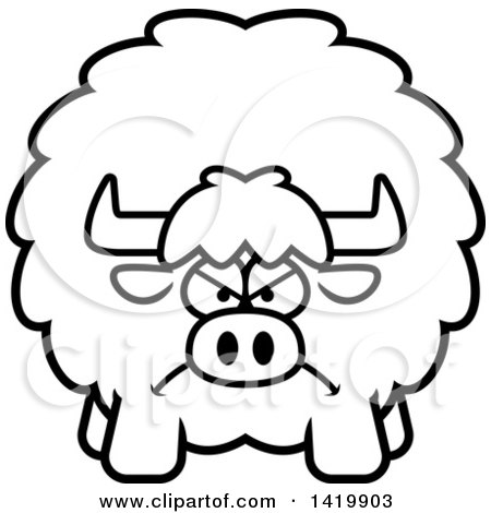 Clipart of a Cartoon Black and White Lineart Mad Chubby Yak - Royalty Free Vector Illustration by Cory Thoman