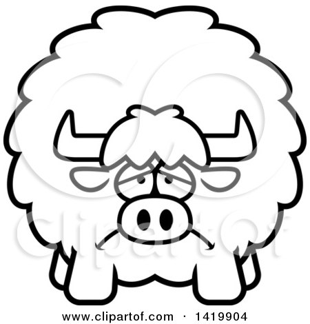 Clipart of a Cartoon Black and White Lineart Depressed Chubby Yak - Royalty Free Vector Illustration by Cory Thoman