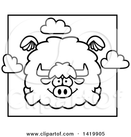 Clipart of a Cartoon Black and White Lineart Chubby Yak Flying - Royalty Free Vector Illustration by Cory Thoman