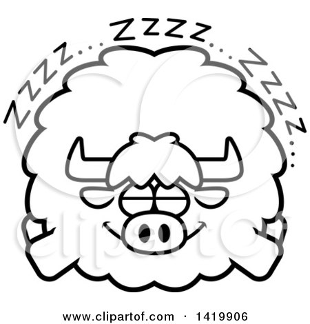 Clipart of a Cartoon Black and White Lineart Chubby Yak Sleeping - Royalty Free Vector Illustration by Cory Thoman