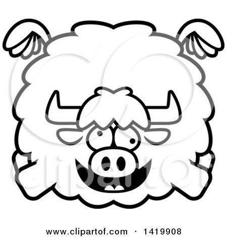 Clipart of a Cartoon Black and White Lineart Chubby Crazy Yak Flying - Royalty Free Vector Illustration by Cory Thoman