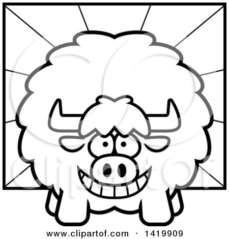 Clipart of a Cartoon Black and White Lineart Chubby Yak over Rays - Royalty Free Vector Illustration by Cory Thoman