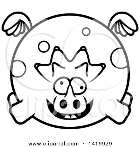 Clipart of a Cartoon Black and White Lineart Chubby Crazy Triceratops Dinosaur Flying - Royalty Free Vector Illustration by Cory Thoman