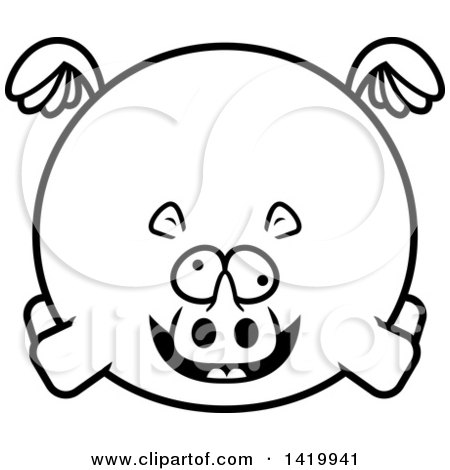 Clipart of a Cartoon Black and White Lineart Chubby Crazy Rhino Flying - Royalty Free Vector Illustration by Cory Thoman