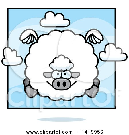 Clipart of a Cartoon Chubby Sheep Flying - Royalty Free Vector Illustration by Cory Thoman