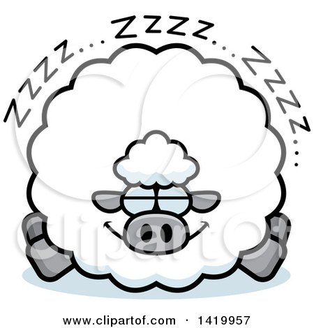 Clipart of a Cartoon Chubby Sheep Sleeping - Royalty Free Vector Illustration by Cory Thoman