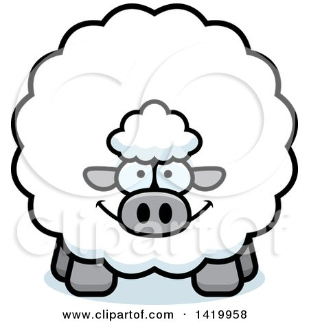 Clipart of a Cartoon Chubby Sheep - Royalty Free Vector Illustration by Cory Thoman