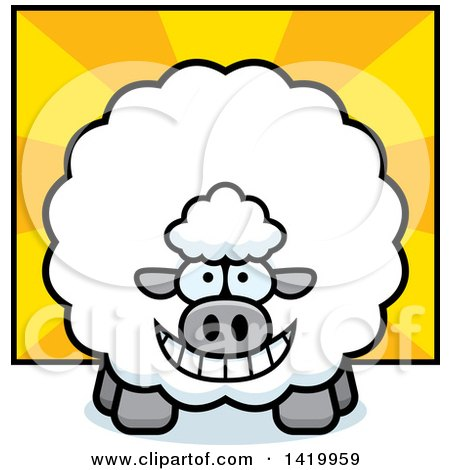 Clipart of a Cartoon Chubby Sheep over Rays - Royalty Free Vector Illustration by Cory Thoman