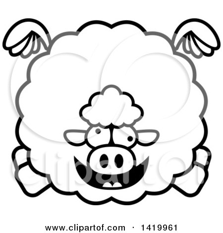 Clipart of a Cartoon Black and White Lineart Chubby Crazy Sheep Flying - Royalty Free Vector Illustration by Cory Thoman