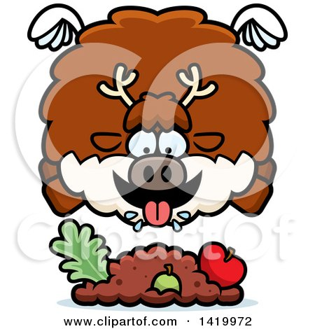 Clipart of a Cartoon Chubby Reindeer Flying and Eating - Royalty Free Vector Illustration by Cory Thoman