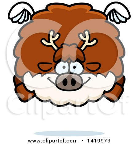 Clipart of a Cartoon Chubby Reindeer Flying - Royalty Free Vector Illustration by Cory Thoman
