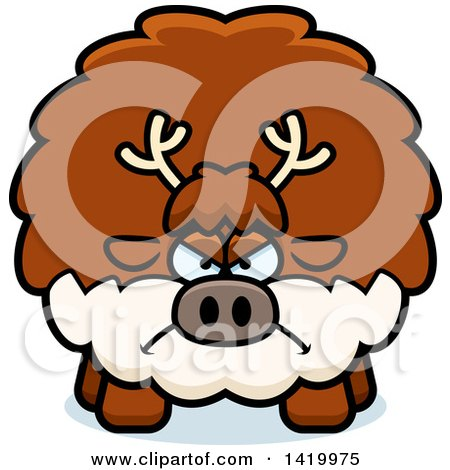 Clipart of a Cartoon Mad Chubby Reindeer - Royalty Free Vector Illustration by Cory Thoman