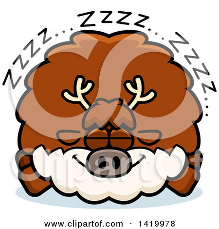 Clipart of a Cartoon Chubby Reindeer Sleeping - Royalty Free Vector Illustration by Cory Thoman