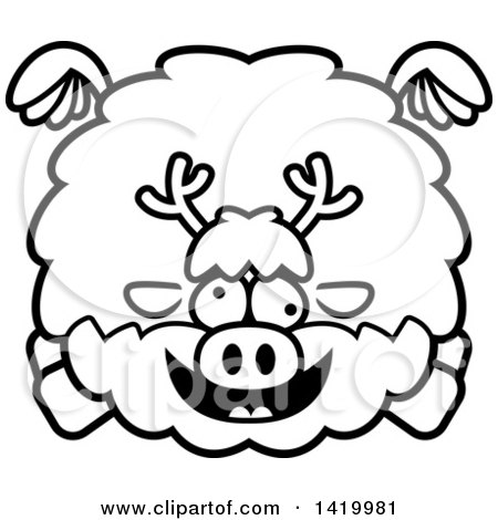 Clipart of a Cartoon Black and White Lineart Chubby Crazy Reindeer Flying - Royalty Free Vector Illustration by Cory Thoman