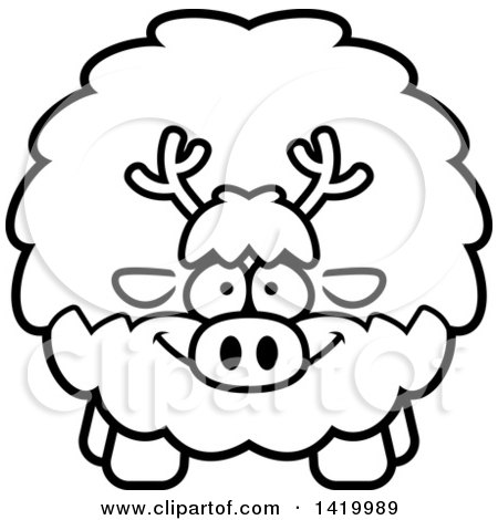 Clipart of a Cartoon Black and White Lineart Chubby Reindeer - Royalty Free Vector Illustration by Cory Thoman