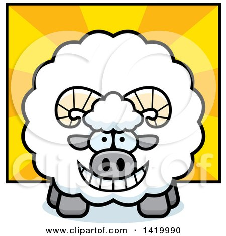 Clipart of a Cartoon Chubby Ram Sheep over Rays - Royalty Free Vector Illustration by Cory Thoman