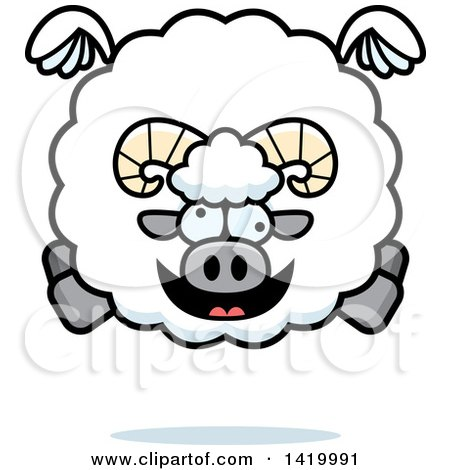 Clipart of a Cartoon Chubby Crazy Ram Sheep Flying - Royalty Free Vector Illustration by Cory Thoman