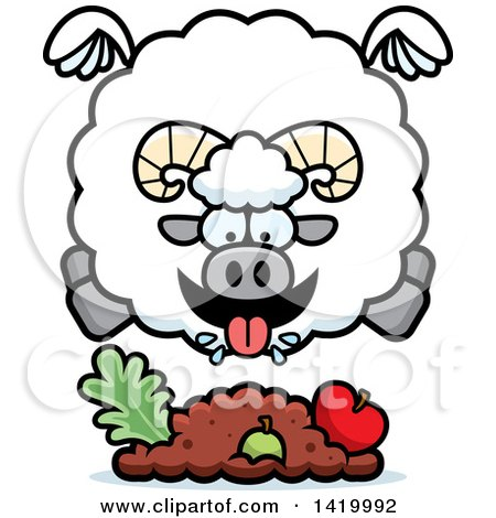Clipart of a Cartoon Chubby Ram Sheep Flying and Eating - Royalty Free Vector Illustration by Cory Thoman