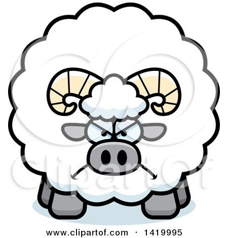 Clipart of a Cartoon Mad Chubby Ram Sheep - Royalty Free Vector Illustration by Cory Thoman