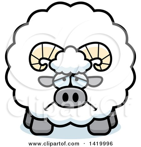Clipart of a Cartoon Depressed Chubby Ram Sheep - Royalty Free Vector Illustration by Cory Thoman