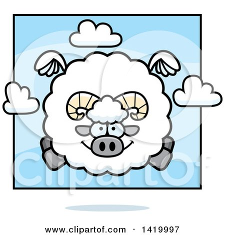 Clipart of a Cartoon Chubby Ram Sheep Flying - Royalty Free Vector Illustration by Cory Thoman