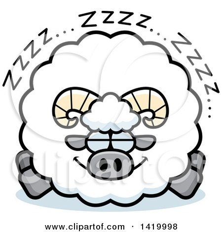 Clipart of a Cartoon Chubby Ram Sheep Sleeping - Royalty Free Vector Illustration by Cory Thoman