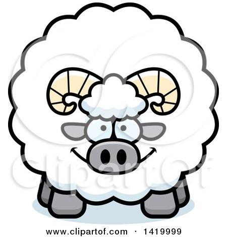 Clipart of a Cartoon Chubby Ram Sheep - Royalty Free Vector Illustration by Cory Thoman