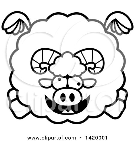 Clipart of a Cartoon Black and White Lineart Chubby Crazy Ram Sheep Flying - Royalty Free Vector Illustration by Cory Thoman