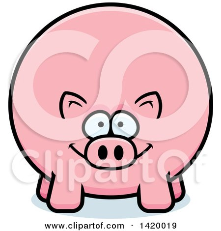 Clipart of a Cartoon Chubby Pig - Royalty Free Vector Illustration by Cory Thoman