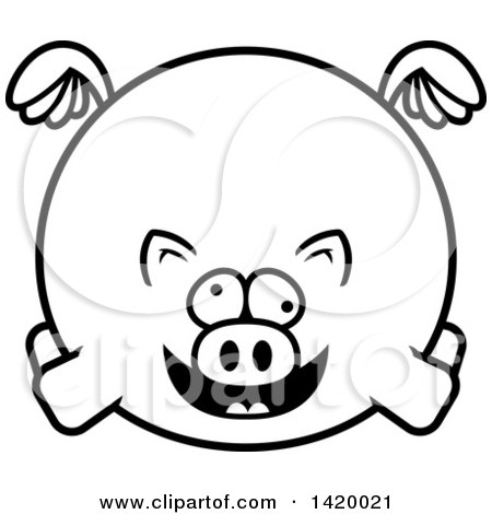 Clipart of a Cartoon Black and White Lineart Chubby Crazy Pig Flying - Royalty Free Vector Illustration by Cory Thoman