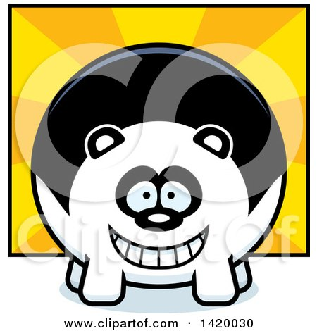 Clipart of a Cartoon Chubby Panda over Rays - Royalty Free Vector Illustration by Cory Thoman