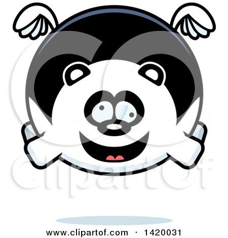 Clipart of a Cartoon Chubby Crazy Panda Flying - Royalty Free Vector Illustration by Cory Thoman