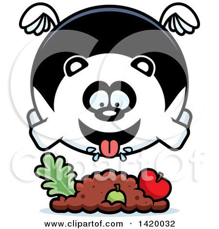 Clipart of a Cartoon Chubby Panda Flying and Eating - Royalty Free Vector Illustration by Cory Thoman