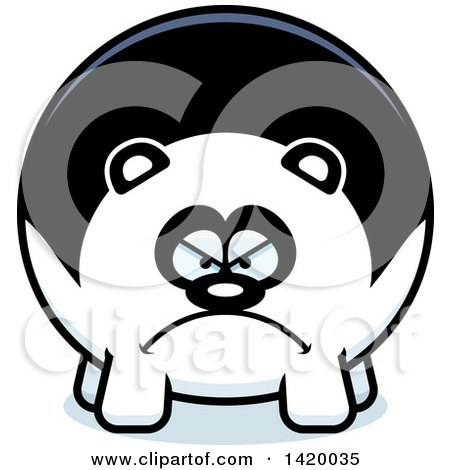 Clipart of a Cartoon Mad Chubby Panda - Royalty Free Vector Illustration by Cory Thoman
