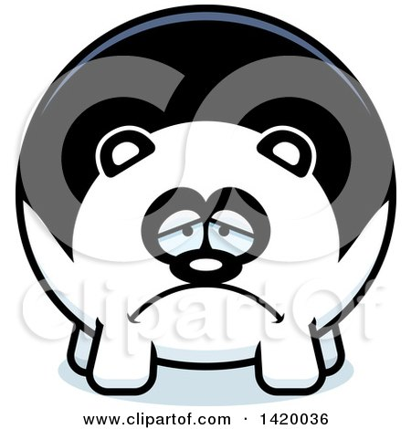 Clipart of a Cartoon Depressed Chubby Panda - Royalty Free Vector Illustration by Cory Thoman