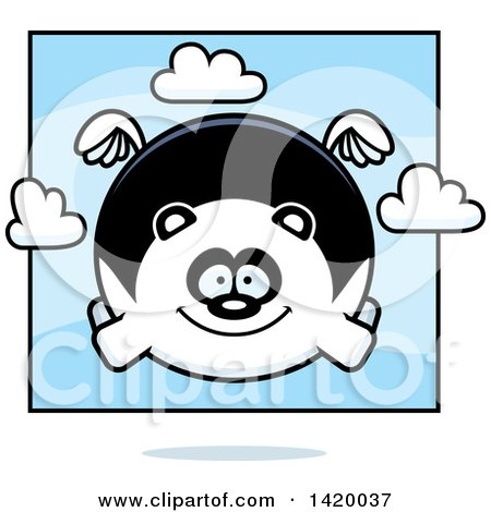 Clipart of a Cartoon Chubby Panda Flying - Royalty Free Vector Illustration by Cory Thoman