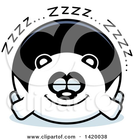 Clipart of a Cartoon Chubby Panda Sleeping - Royalty Free Vector Illustration by Cory Thoman