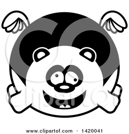 Clipart of a Cartoon Black and White Lineart Chubby Crazy Panda Flying - Royalty Free Vector Illustration by Cory Thoman