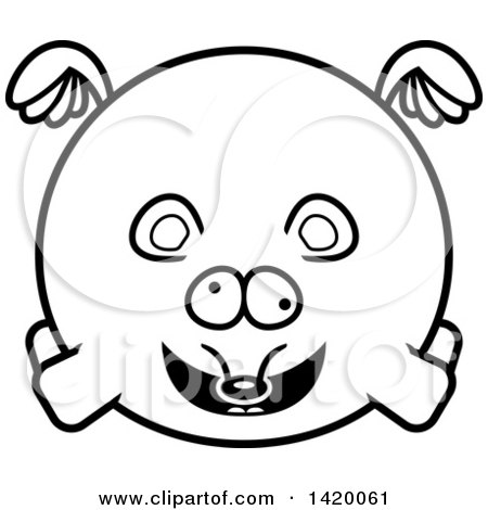 Clipart of a Cartoon Black and White Lineart Chubby Crazy Mouse Flying - Royalty Free Vector Illustration by Cory Thoman