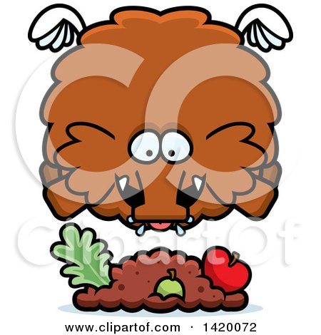 Clipart of a Cartoon Chubby Woolly Mammoth Flying and Eating - Royalty Free Vector Illustration by Cory Thoman